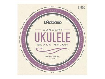 D'Addario - J53 pour Ukulélé Concert - Nylon Noir