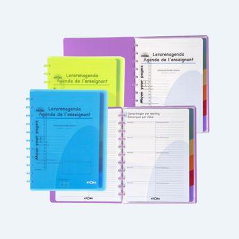 Journal A4+ Enseignant-Perpétuel-Bilingue-plan semaine-Bulletin de notes-6 intercalaires-5 pochettes