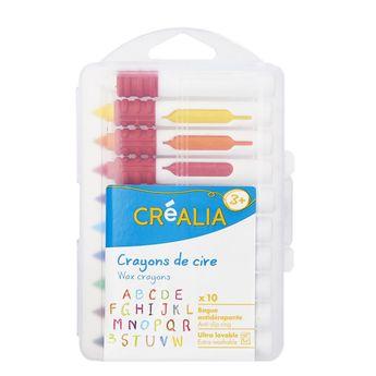 10 crayons de cire avec bague antidérapante - Créalia