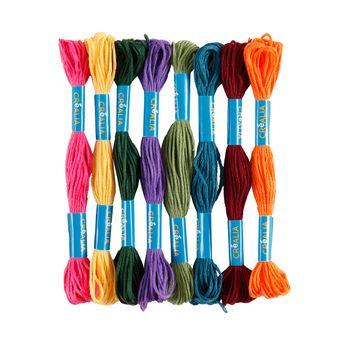Set 8 fils à broder multicolores couleurs foncées Créalia
