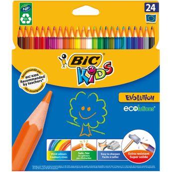 BIC Kids Evolution ECOlutions Crayons de Couleur - Etui Carton de 24