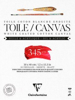 Bloc de 10 feuilles de toile coton blanc enduites Fleur de Lys Clairefontaine - 30 x 40 cm 345 g/m²