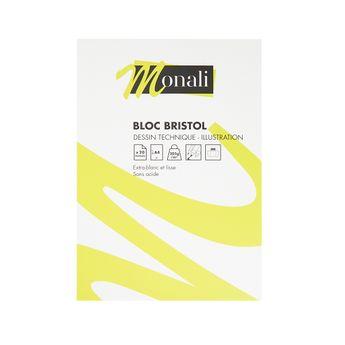 Bloc bristol 20 feuilles A4 205g/m² - Monali
