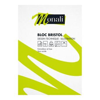 Bloc bristol 20 feuilles A3 205g/m² - Monali