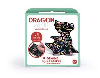Boite 4 cartes à gratter 3D assorties design dragon