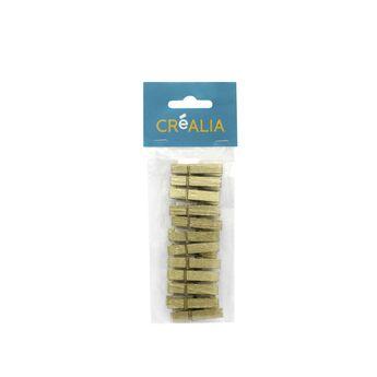 12 pinces à linge 3,5 cm - doré - Créalia